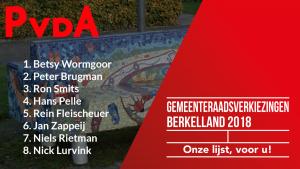 De kandidaten voor de gemeenteraadsverkiezingen van 2018, PvdA Berkelland